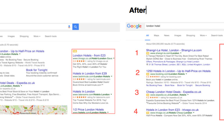 Google side ad placement before and after photo