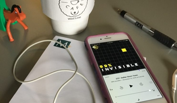 99 Percent Invisible podcast playing at the M+ offices